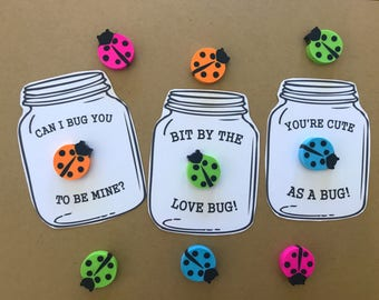 Adorable Lady Bug Eraser Classroom Valentine's Day Cards