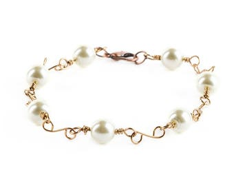 Glass Pearl Beaded Bracelets Jewelry Wire Wrapped With Antique Brass Wire Handmade