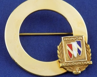 "12K Gold Badge ""Honor Accountant 1"" by G.B.M Mounted on a Walter Hayward Gold Filled Brooch"
