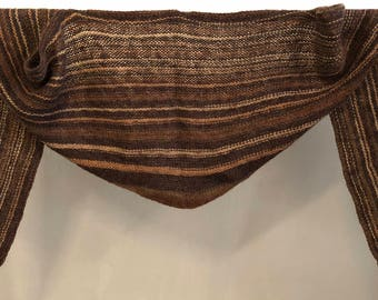 Coffee-hand Knitted X-large shoulder or scarf