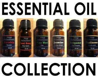 Essential Oils Set of 6 Rosehip,Sweet Orange,Pinewood,Jasmine,Bergamot,Frankincense Great Gift