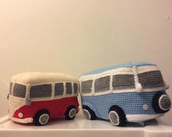 Crochet campervan handmade blue and white