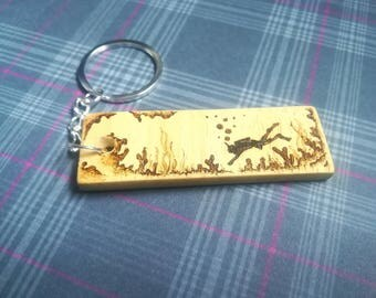 Scuba diving keyring wood pyrography keychain