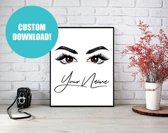 Customizable Print, Printable Art, Custom Print, Digital Download, Custom, Artwork, Printable, Wall Art, Beauty, Eyes, Makeup, Hand Drawn