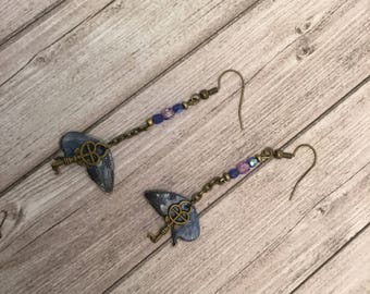 Shiny wings - blue and silver butterfly earrings collection