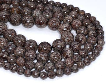 Genuine Natural Brown Snowflake Obsidian Loose Beads Round Shape 6mm 8mm 10mm 12mm