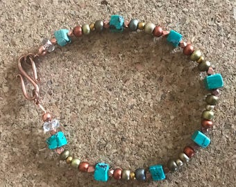 8 inch copper, turquoise bracelet