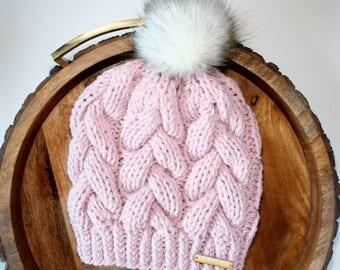 Beanie, Braided Cable Beanie, blush, pink, beanie with faux fur pom pom, white pom pom, faux fur pom pom