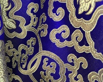 Adelaide BLUE GOLD Chinese Brocade Satin Fabric by the Yard - 10058