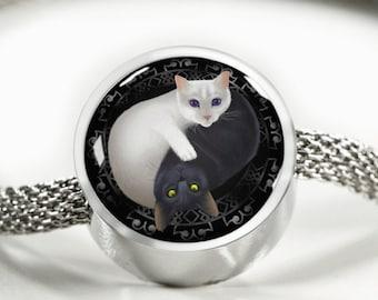 Cat Yin Yang Women's Charm Bracelet Silver Cat Lady Kitty Lover Gift