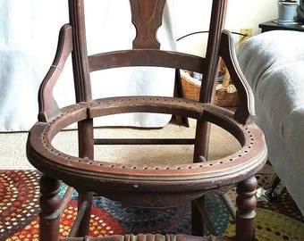 Antique Late 1800's Wooden Chair With No Seat