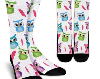Owl Socks 3, Custom Printed Socks, Novelty Socks, Cute Socks, Cool Socks, Funny Socks, Fun Socks, Unique Socks