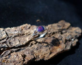 Silver ring set with a natural Sugilite