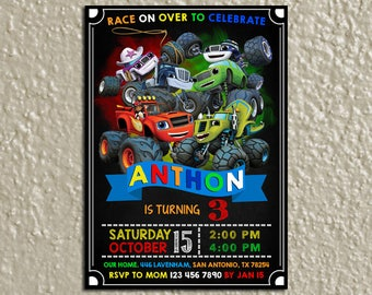 Blaze and the Monster Machines Invitation, Blaze and Monster Machines Birthday Invitation, Blaze Birthday Party Invite