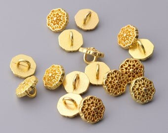 10pcs 10mm gold flower shaped buttons metal fashion shirt buttons shank button hexagon on the back