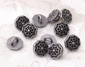 10pcs 10*7mm flower shaped fashion buttons metal light black buttons shank buttons clothing buttons