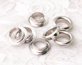 silver eyelets 16*10*5mm metal copper grommets 50sets eyelets with washers shoes clothes leather canvas making