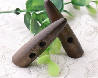 2 holes toggles buttons 6pcs 47*12mm wooden toggles buttons garment buttons duffel buttons dark brown toggles 4mm hole
