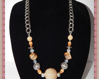 "Gold Dust - 30 "" long single strand necklace;  rust, gold and brown"