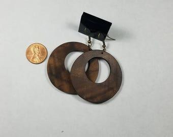 Hoop earrings made from burled walnut, handmade, unique, light, fancy, exotic wood