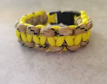 Yellow and Sand Camo Paracord Bracelet