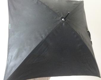 Rare Jean Paul Gaultier Mens Square Umbrella  Black Leatherette Original Made in France Paris