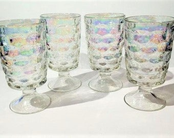 Set of 4 Iridescent Footed Glasses, 4 Vintage Yorktown Iridescent 12 oz Glasses by Federal Glass, 1960s Iridescent Glasses, Retro Barware