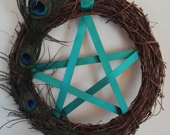 Medium peacock pentagram wreath pagan wiccan witchy altar magic