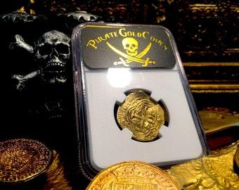 COLOMBIA 2 ESCUDOS 1653 60 NUEVO reino ngc 45 treasure gold coin pirate doubloon
