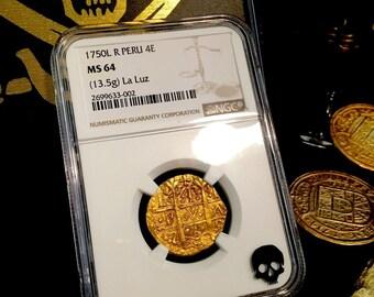 """PERU 4 ESCUDOS 1750 """"la luz shipwreck"""" finest known! gold doubloon coin treasure"""