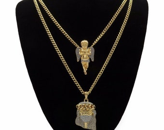 """New Men's 14k Gold Plated High Fashion 2 pcs Jesus & Angel 3mm 30"""" And 24"""" Cuban Chain"""