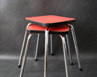 Mid century stool chrome Resopal in red. Kitchen stool, stacking stool