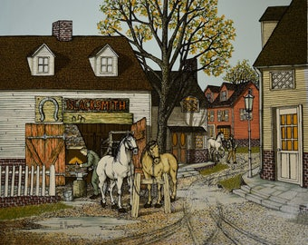 Vintage Blacksmith with Horses 20x24 Canvas Print - Signed by H. Hargrove