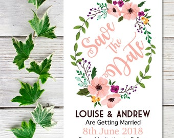 Blush Pink Save the Date, Floral Save the Date, Save the Date Cards, Personalised Save the Date, Wedding Save the Date, Printable Save Date