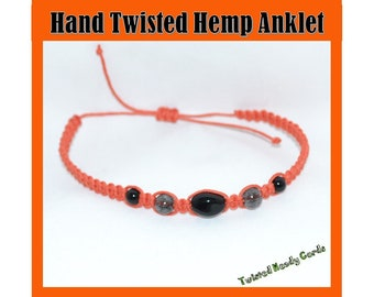 Orange Hemp Anklet with Black Glass Beads
