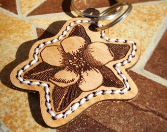 Keychain - Leather - Flower Design