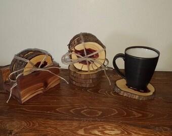 Cedar coasters with homemade cedar coaster holder - Set of 4