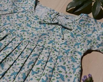 Tilly Dress, Blue Swallow