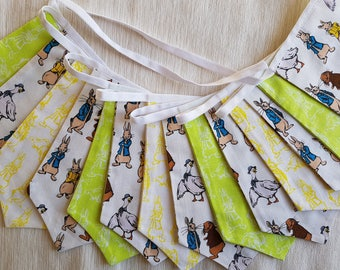 Fabric Bunting - 3 m/10 ft  with 14 double sided flags - Peter Rabbit Lime Green Yellow Cotton  Easter Celebration Nursery Decor Baby Shower