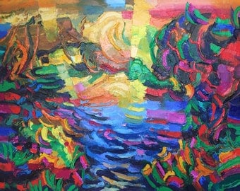 "Fedir Panchuk original oil painting on canvas ""Lake of my childhood"""
