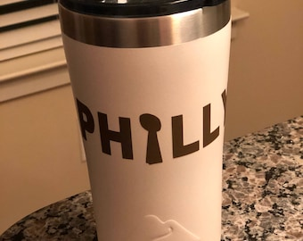 "Custom ""PHILLY"" vacuum-insulated 20 oz stainless steel tumbler."