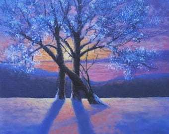 winter sunset trees