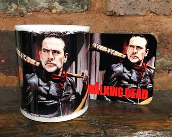 "The Walking Dead ""Negan"" mug and matching coaster set."