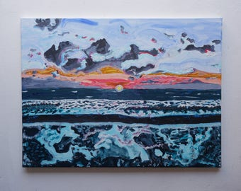 """Original Handmade artwork - Acrylic Painting on stretched canvas """"Depth and Fire at Sunrise"""" by Paolo Garau"""