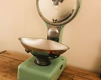 Greengrocer Scales in green made by  F. H FRY, Gold Street, Cambridge
