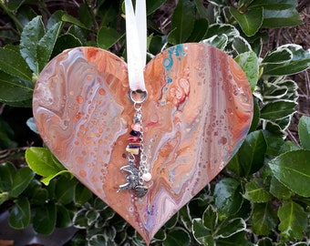 Gorgeous hanging heart with Moon charm and bead chain with earthy colours