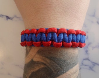Survival bracelet blue and Red 550 Paracord