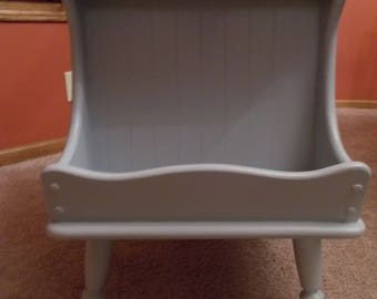 Refurbished Light Grey Side Table with Magazine Holder - LOCAL PICKUP ONLY