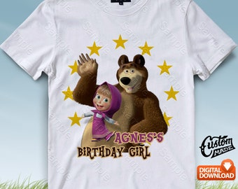 Masha and The Bear Iron On Transfer, Masha and The Bear Birthday Shirt DIY, Masha and The Bear Shirt Designs, Personalize, Digital Files