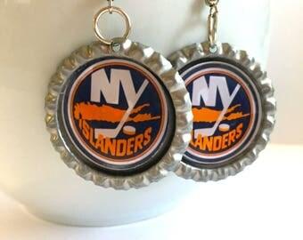 New York ISLANDERS Handcrafted Hockey Earrings